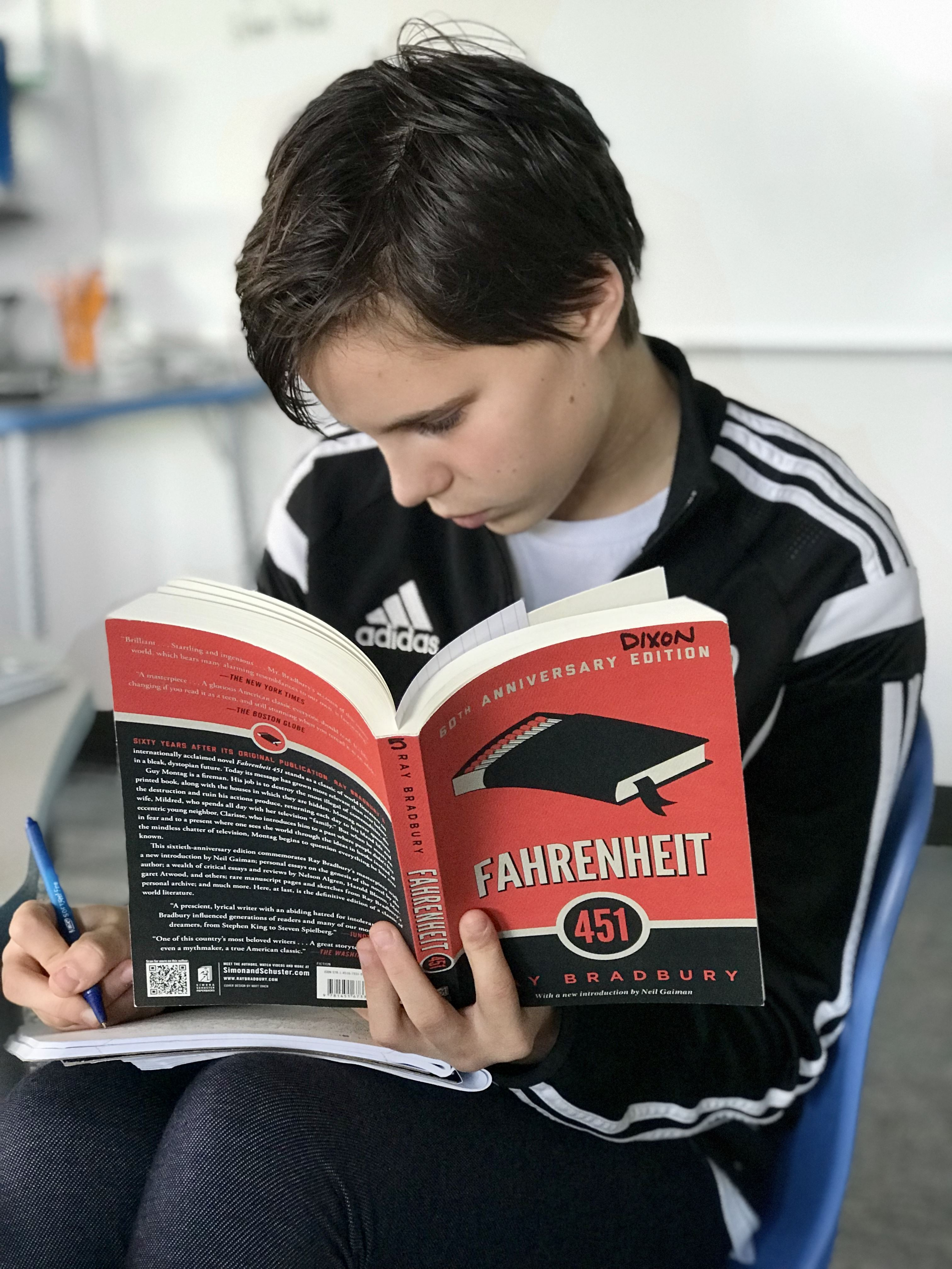 7th grader reading Farenheit 451