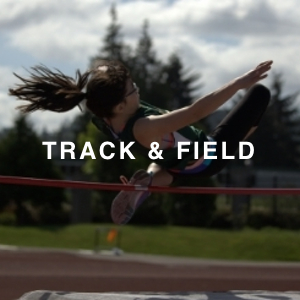 """TRACK & FIELD"" text over an image of a student doing the high jump"