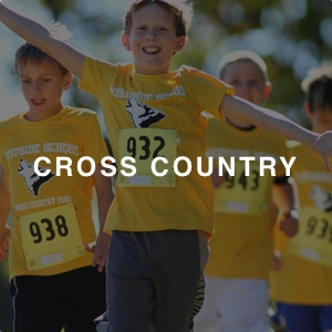 """Cross Country"" text over a picture of a student running and smiling"
